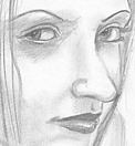 Pencil portrait; Joanna's friend Amanda.