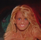 Detail of a painting of 80's actress Heather Thomas, with Alice Cooper in the background.