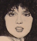 detail of a painting of Anne Wilson, of the band Heart.